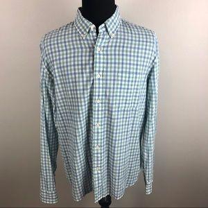 Faherty Blue Green Plaid Shirt Men's XL